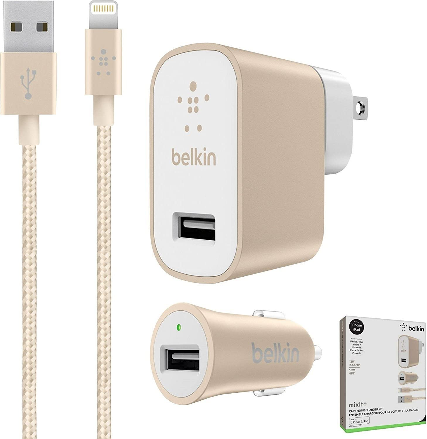 Belkin Metallic Mixit -12W 2.4Amp Fast Home /& Car Lightning Charger Gold White Kit - for iOS iPhone 8//+//X iPad Pro Retail Packing