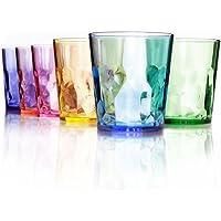 13 oz Premium Drinking Glasses - Set of 6 - Unbreakable Tritan Plastic - BPA Free - 100% Made in Japan (Assorted Colors)