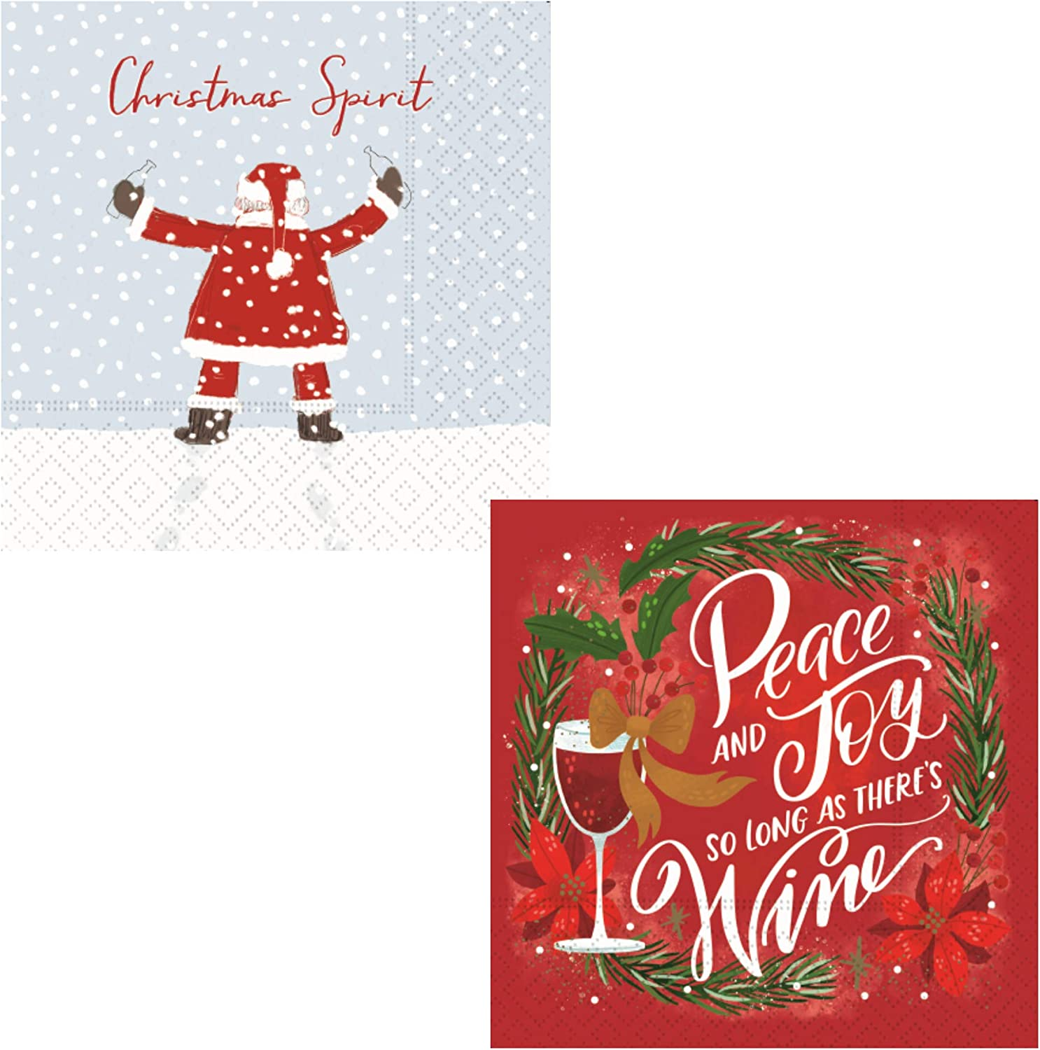 Funny Wine Themed Christmas Cocktail Napkins | Bundle Includes 40 Total Paper Beverage Napkins in 2 Designs | Fun Ladies Night Variety Pack