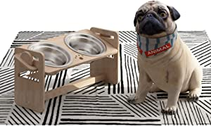 Elevated Dog Bowls for Small and Medium Pets, 4 Adjustable Height Bamboo Raised Cat Food and Water Bowl , Stand Feeder with 2 Stainless Steel Bowl, Meet Pets Feeding Needs(New 8'' Tall)