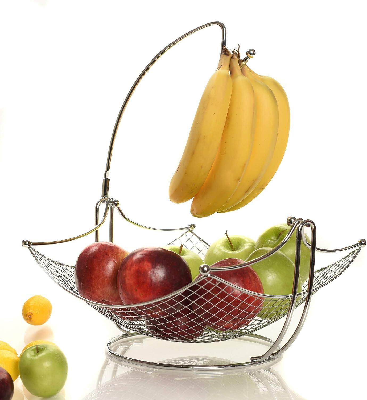 Elegant Fruit Bowl with Banana Tree Hanger Chrome or Black for the classic look Banana holder chrome Fruit Basket