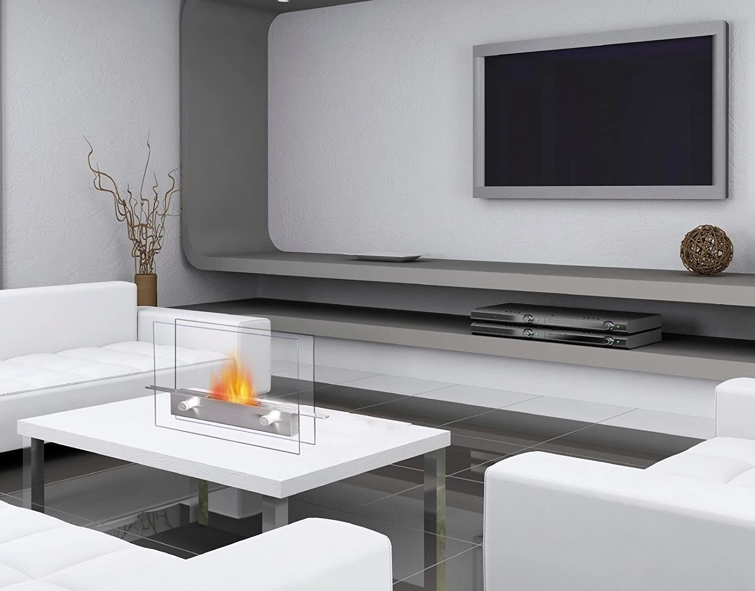 Amazon metropolitan table top ethanol fireplace home kitchen geotapseo Image collections