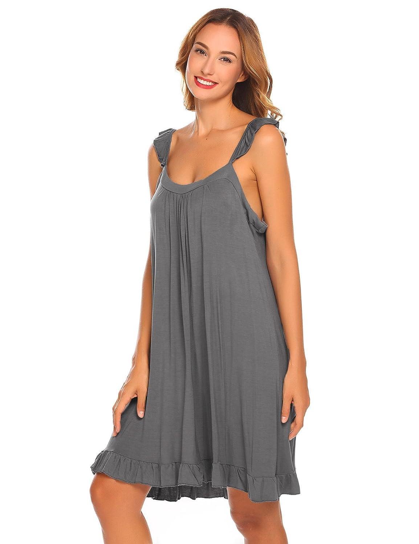 7afbd37190 etuoji Womens Sleeveless Nightdress Ruffles Square Neck Nightgown Loose  Sleepwear Dress at Amazon Women's Clothing store: