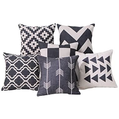 DEZENE Black Throw Pillow Covers for Couch - Set of 6 - Decorative Linen Sofa Square Cushion Pillow-Cases,18 x 18 inch,Geometric Aztec and Morrocan Patterns