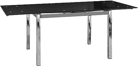 Abitti Mesa Extensible para Comedor con Cristal Templado Negro 120-200x90cm: Amazon.es: Hogar