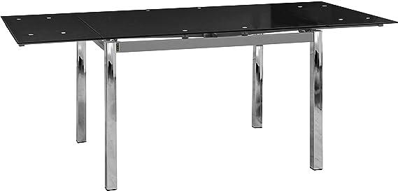 Abitti Mesa Extensible para Comedor con Cristal Templado Negro 120 ...
