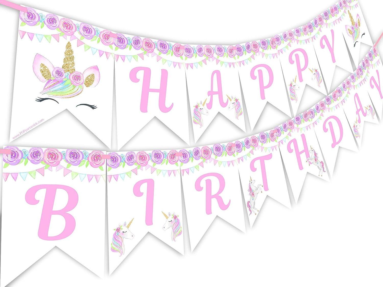 MagicalユニコーンLashesレインボーHappy誕生日バナーペナント   B07F39MLD1