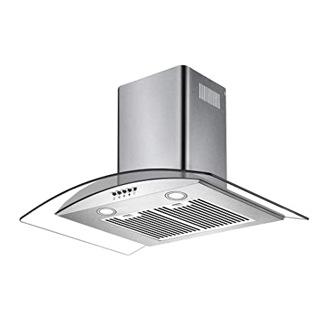 Amara-60 Stainless Steel Chimney 60 cm 1150 m�/hr Cooker Glass Range Hoods with 2 Baffle Filters, 3 Speed Push Button, LED Lighting, Silver