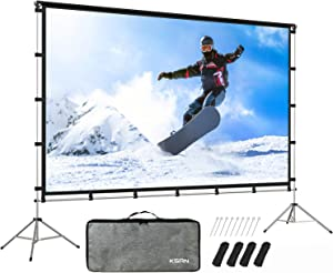 KSAN Outdoor Indoor Projector Screen with Stand Foldable Portable Movie Screen 120 Inch (16:9) Full-Set Bag for Home Theatre Camping and Recreational Events…
