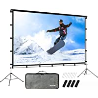 KSAN Outdoor Indoor Projector Screen with Stand Foldable Portable Movie Screen 120 Inch (16:9) Full-Set Bag for Home…