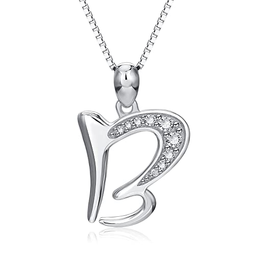 266f07a012bb25 Amazon.com: YFN Sterling Silver Initial Necklace Letter Alphabet B Pendant  Necklace Jewelry for Women: Jewelry