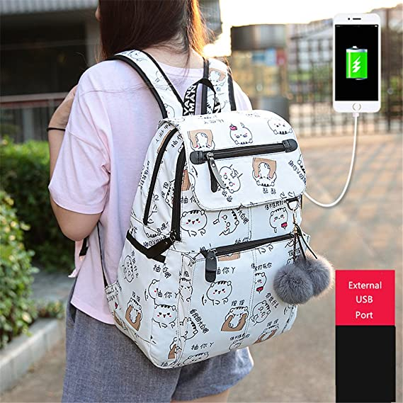 Amazon.com: Teenage Backpacks Female School Usb School Bags Girls Backpack Pack Women Laptop Backpack Cartoon Women Set 6
