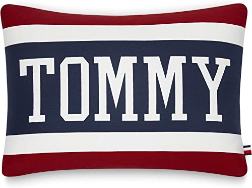 Tommy Hilfiger Varsity Stripe Pillow Decorative Pillow, 15×20 inch, Red White