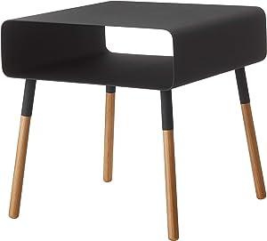 YAMAZAKI home 4230 Plain Side Table with Storage Shelf Black