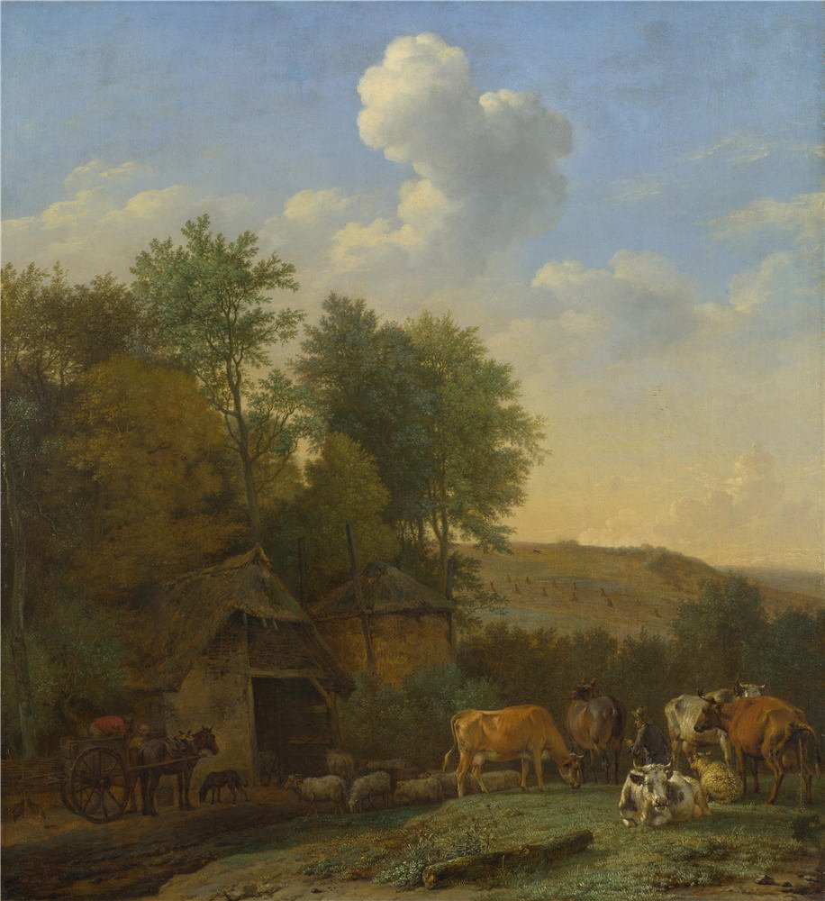 polyster Canvas ,the Cheap but High quality Art Decorative Art Decorative Prints on Canvas of oil painting 'Paulus Potter A Landscape with Cows Sheep and Horses by a Barn ', 30 x 33 inch / 76 x 83 cm is best for Garage decor and Home decoration and Gifts by CaylayBrady