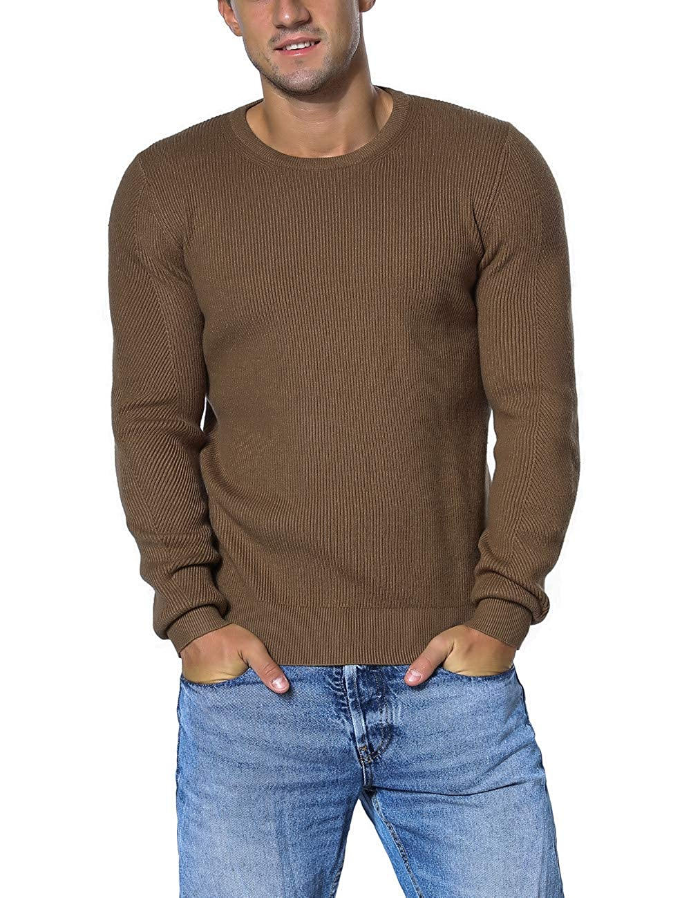 Rocorose Men's Winter Tunic Sweater Crew Neck Knit Ribbed Long Sleeves RR8218043