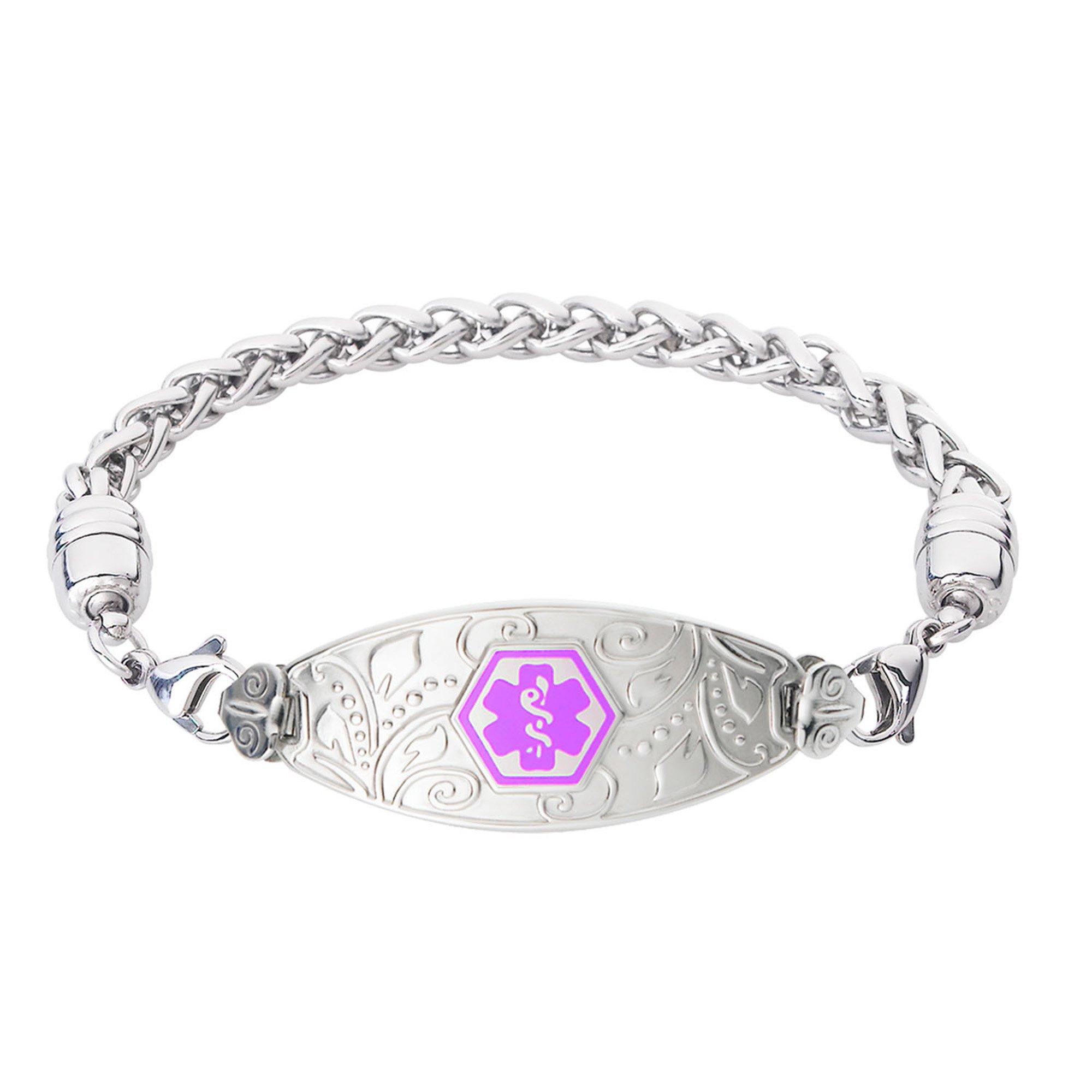 Divoti Custom Engraved Medical Alert Bracelets for Women, Stainless Steel Medical Bracelet, Medical ID Bracelet w/Free Engraving - Lovely Filigree Tag w/Wheat-Purple-6.5''