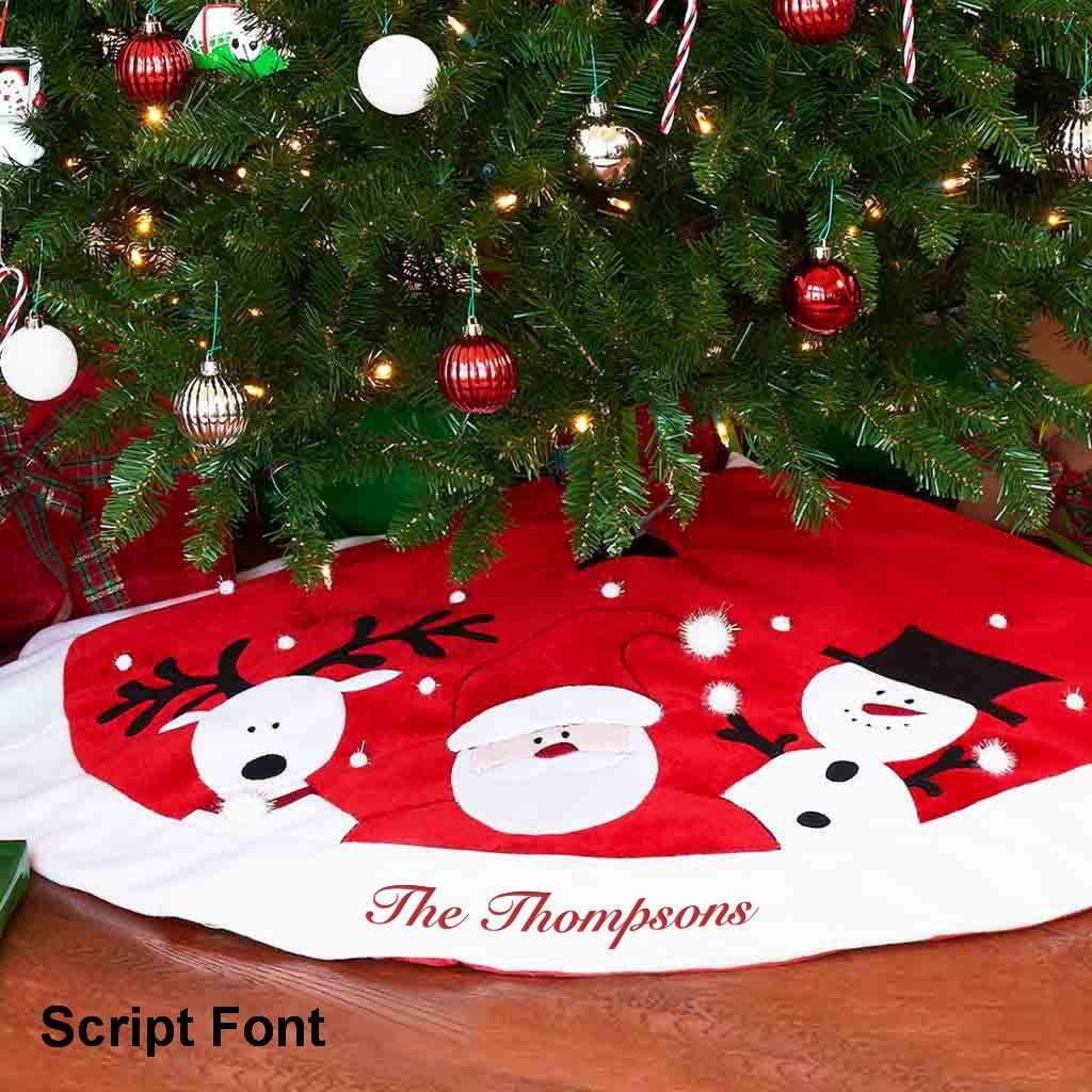 Classic Gray Plaid DIBSIES Personalization Station Personalized Christmas Tree Skirt 60