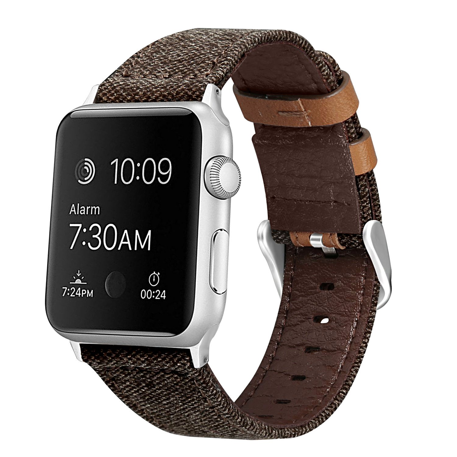 penen Compatible Apple Watch Band 38mm 42mm Leather iWatch Strap Replacement Band Leather Watch Sport Loop Band Replacement with Stainless Metal Buckle for Apple Watch Nike+ Series 3,2,1 by penen (Image #2)