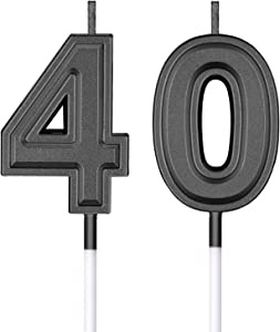 40th Birthday Candles Cake Numeral Candles Happy Birthday Cake Candles Topper Decoration for Birthday Wedding Anniversary Celebration Supplies (Black)
