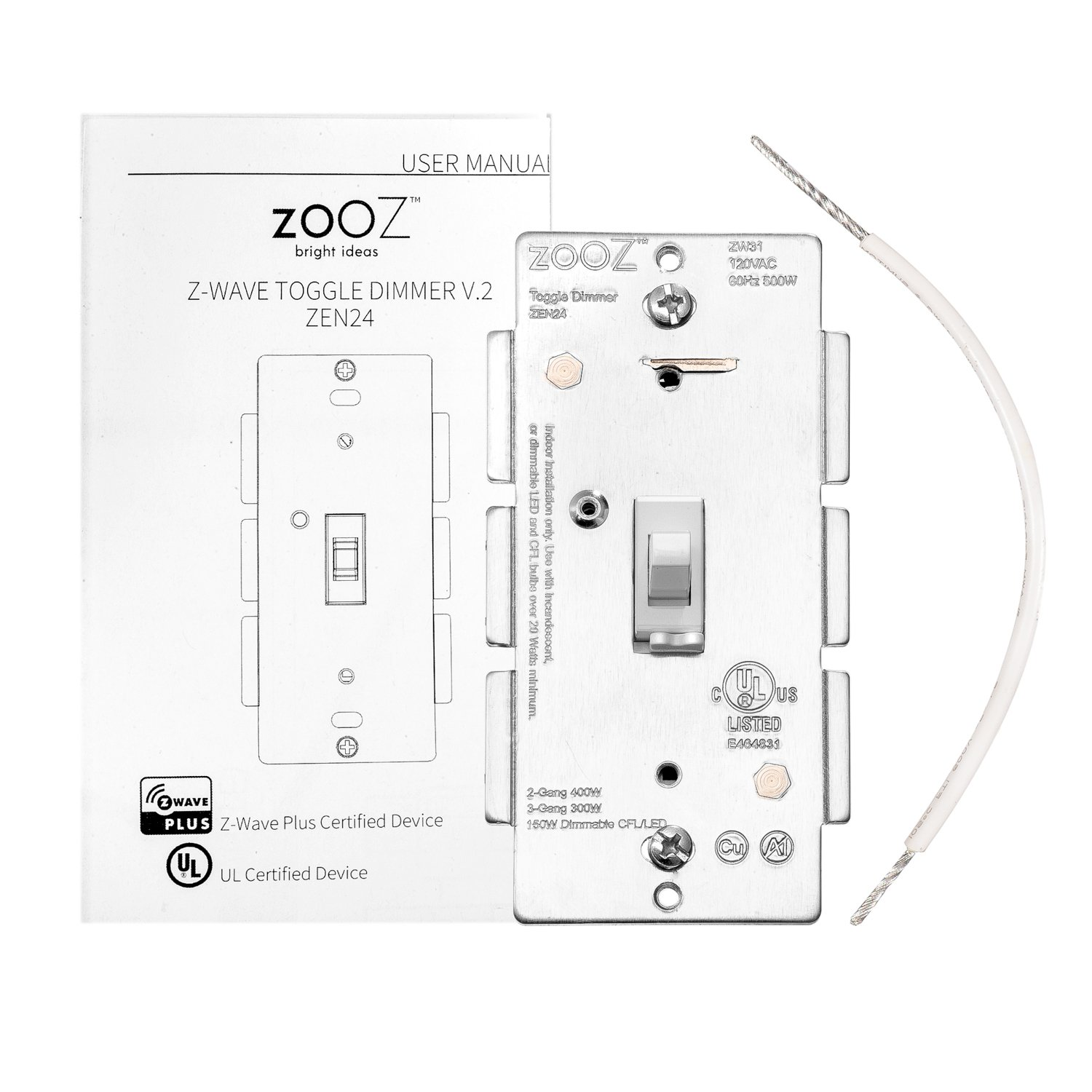 Zooz Z Wave Plus Toggle Dimmer Light Switch Zen24 Ver 20 White Led Wiring Diagram Free Picture Schematic Works With Existing Mechanical 3 Way