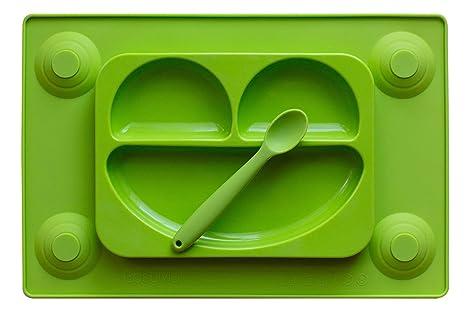 EasyMat - Plato de silicona con divisiones y mantel de succión - Todo en uno -