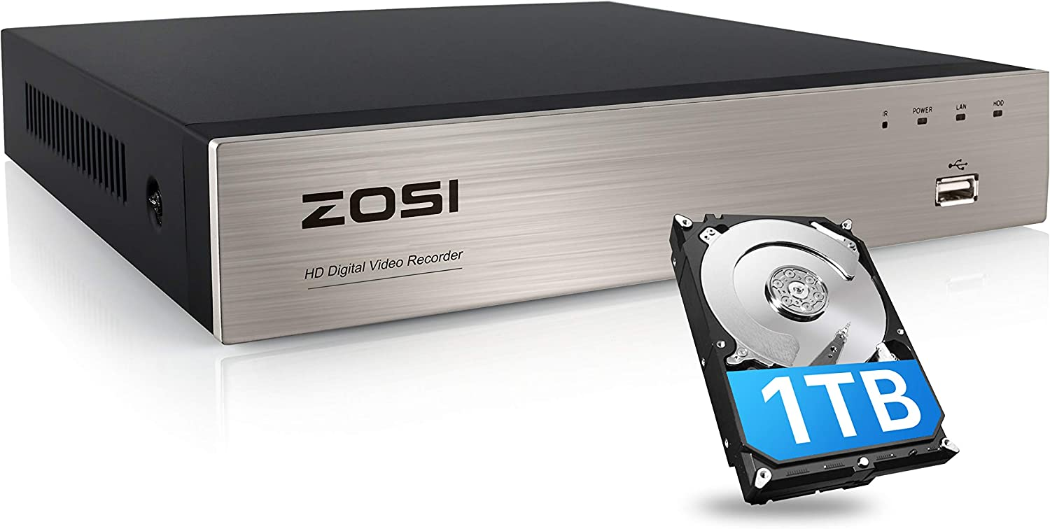 ZOSI H.265+ 8 Channel 5MP Lite CCTV DVR with Hard Drive 1TB, 8CH 1080P 4-in-1 Analog AHD TVI CVI Surveillance DVR for 720P,1080P,5MP Lite Security Camera,Remote Access, Motion Detection, Alert Push
