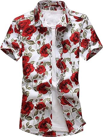 Camisa Hawaiana para Hombre, Diseño de Rosa, para la Playa, Fiestas, Verano y Vacaciones Blanco XS: Amazon.es: Ropa y accesorios