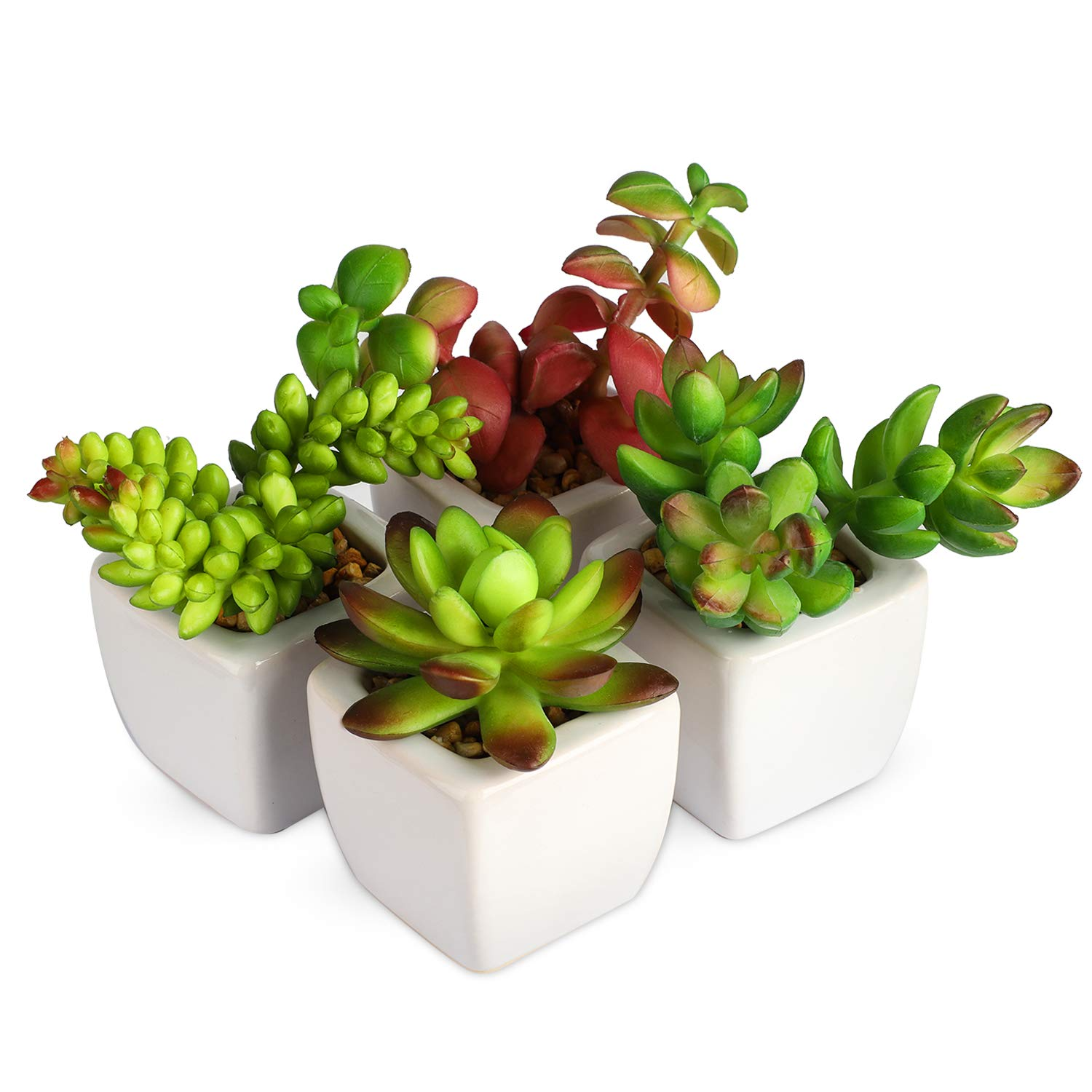 Myartte Home Decor-Set of 4 small Cube-Shaped Ceramic Pot with 4 different Artificial Succulent Plant for Home/Office Decoration