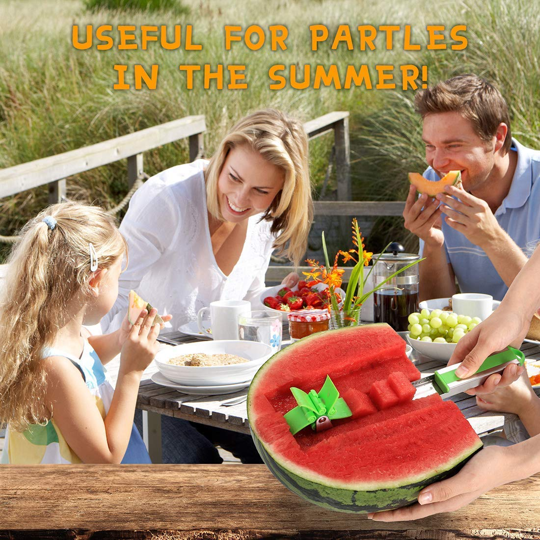 Watermelon Slicer, 2019 Novel Windmill Watermelon Slicer Cutter Tongs Corer Fruit Melon Stainless Steel Tools (green) by YCZTXSJT