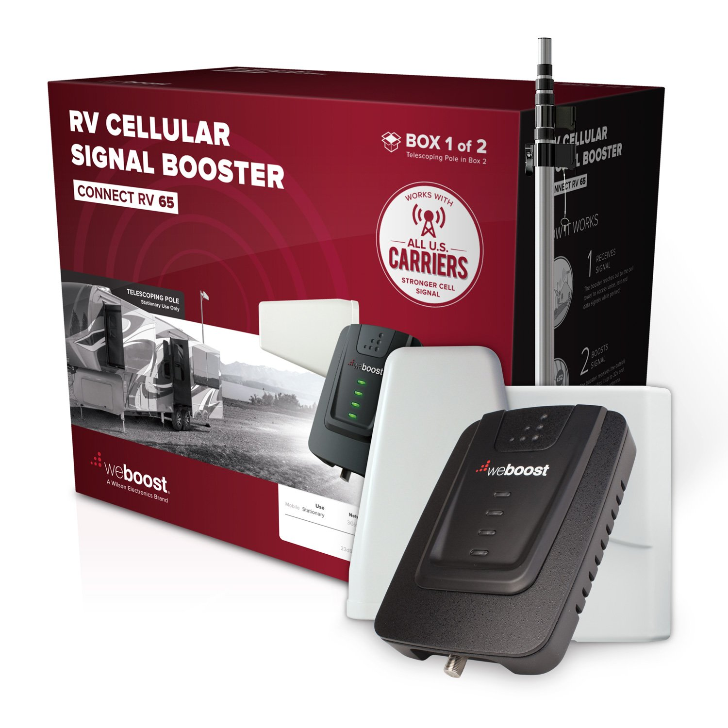 weBoost Connect RV 65 (471203) - Cell Phone Signal Booster for your Towable RV or Motorhome - Verizon, AT&T, T-Mobile, Sprint - Enhance Your Signal up to 32x - Stationary Use by weBoost