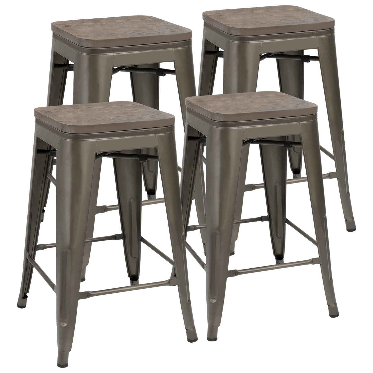 JUMMICO Metal Bar Stools Indoor-Outdoor Stackable Modern 24 Inches Gun Metal Counter Height Industrial Barstools with Wooden Seat (Set of 4) by JUMMICO