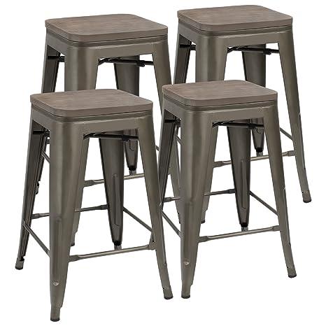 Phenomenal Jummico Metal Bar Stools Indoor Outdoor Stackable Modern 24 Inches Gun Metal Counter Height Industrial Barstools With Wooden Seat Set Of 4 Gun Uwap Interior Chair Design Uwaporg