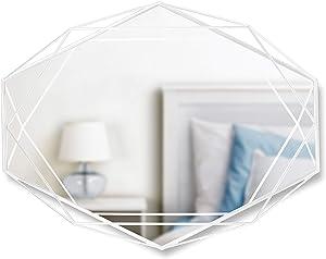 Umbra, White Prisma Wall Mirror, Modern Oval Shaped Geometric Frame Mounts Vertically or Horizontally