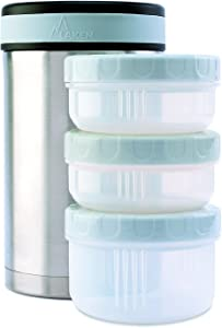 Laken Thermo 50 Ounce Vacuum Insulated Food Jar, Stainless Steel + Cover + 3 PP Containers, Plain
