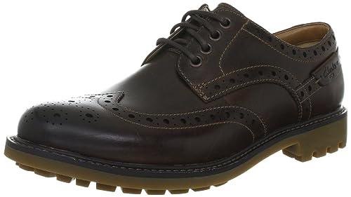Clarks Montacute Wing 203517867 - Zapatos de cordones de cuero para hombre, color marrón (Dark Tan Leather), talla 41