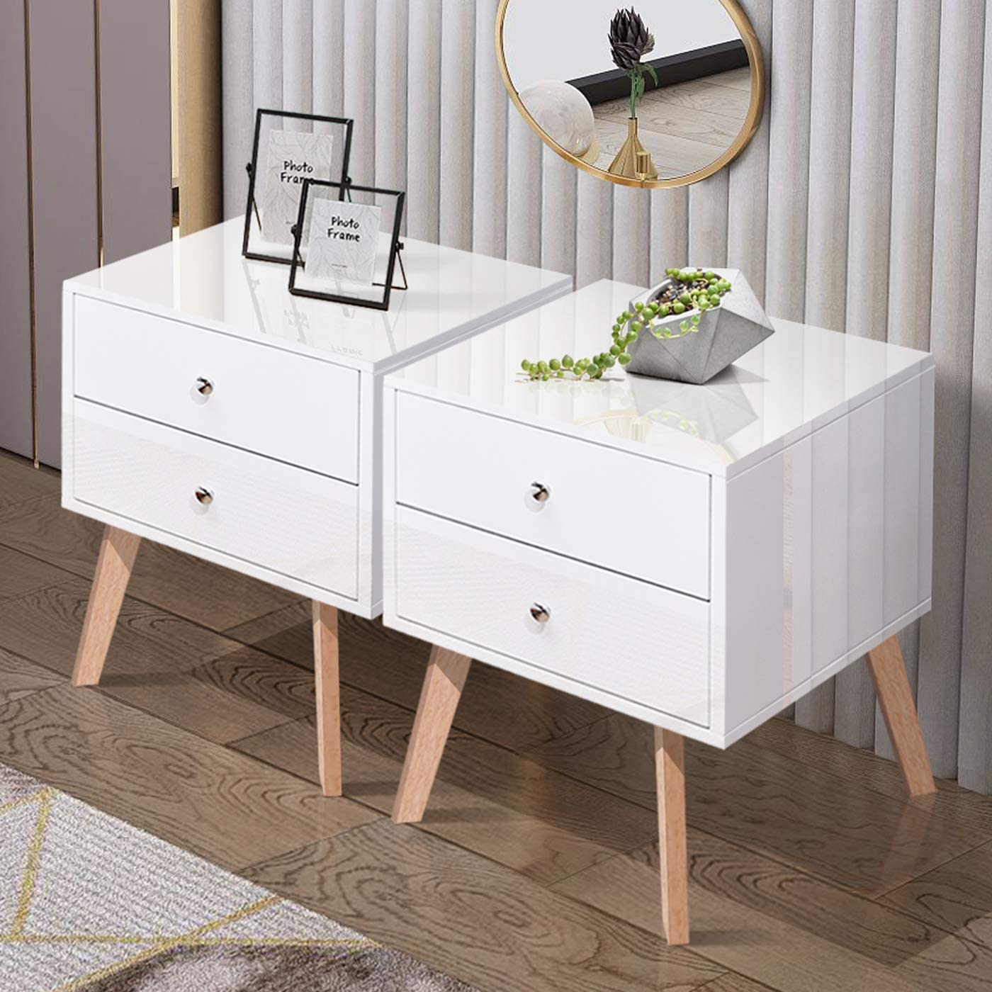 TaoHFE White Nightstand Bedroom Night Stand End Table Side Table Coffee Table with 2 Drawers, Wood Nightstand for Bedroom Living Room Study Room End Tables 2
