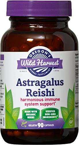 Oregon s Wild Harvest Astragalus Reishi Organic Herbal Supplement, 90 Count