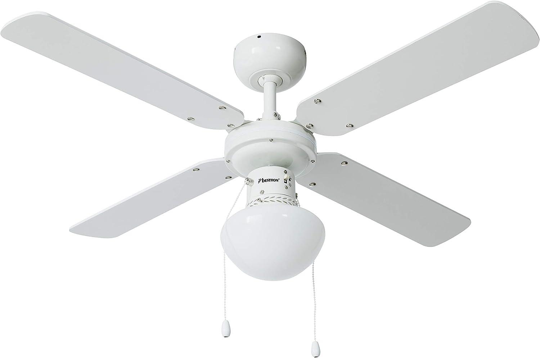 Bestron Ventilador de Techo con lámpara, 102 cm, 50 W, Blanco/Arce ...