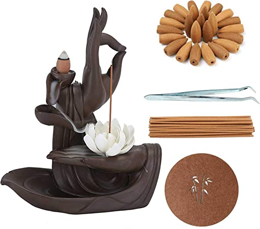 Lotus Backflow Incense Holder, Ceramic Incense Stick Holder, Aromatherapy Ornament Handicraft Decoration with 120 Backflow Incense Cones + 30 Incense Stick: Amazon.co.uk: Kitchen & Home