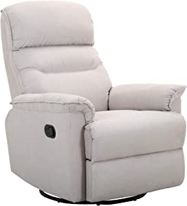 Amazon Brand – Ravenna Home Pull Recliner with Rotating 360 Swivel Glider, Living Room Chair, Fabric, Beige