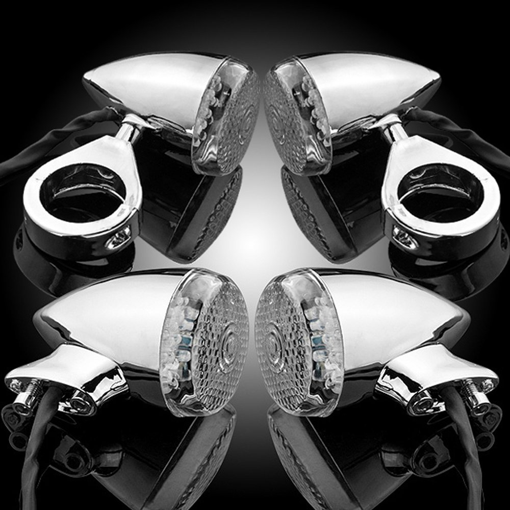 4pcs 20 LED Chrome Front Rear Turn Signal Light 41mm Fork Clamp Custom Bike Motorcycle Cruiser Chopper Touring