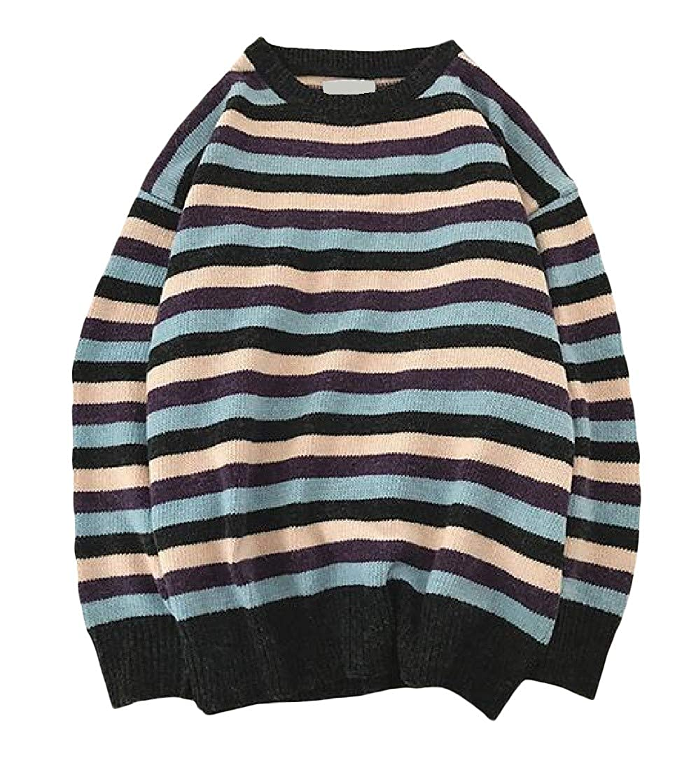 XXBlosom Mens Comfortable Stripe Loose Fit Pullover O-Neck Ribbed Knit Jumper Sweaters