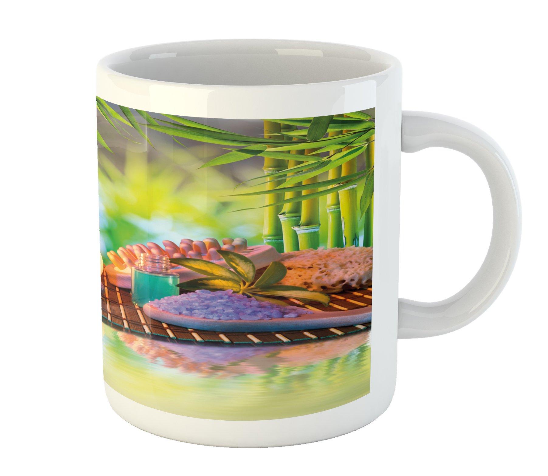 Ambesonne Spa Mug, Stones with Candles Spiritual Eastern Yoga Relaxation Meditation Chakra Bamboos Print, Printed Ceramic Coffee Mug Water Tea Drinks Cup, Multicolor