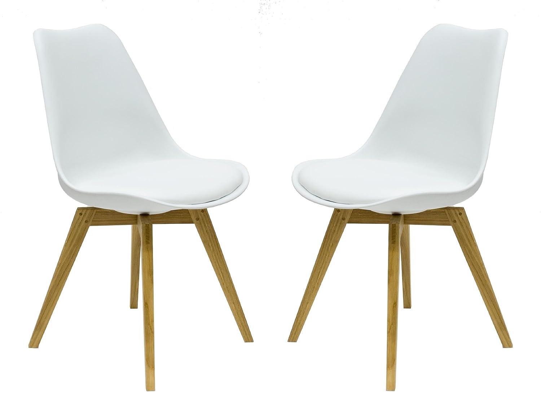 Designbotschaft: Olbia Stuhlset Weiß/ Eiche   Esszimmerstühle (2 Stck):  Amazon.de: Küche U0026 Haushalt