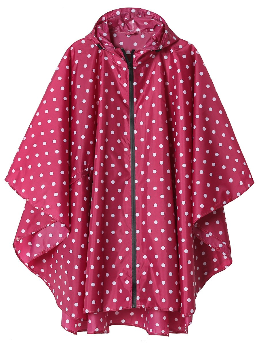 LINENLUX SiYang Rain Poncho Jacket Coat for Adults Hooded Waterproof with Zipper Outdoor (Pink Point)