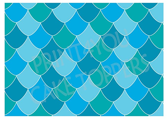 MERMAID FISH SCALES EDIBLE PREMIUM ICING PARTY CAKE DECORATION IMAGE TOPPER WRAP