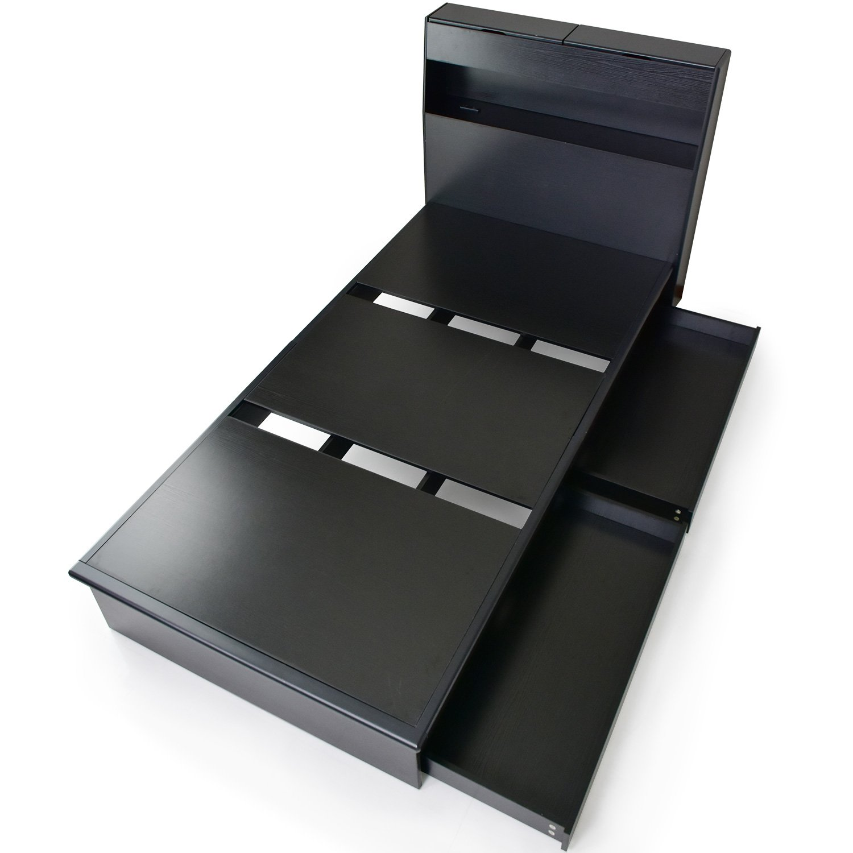 DORIS ベッド ダブル フレームのみ 収納付き 扉付き コンセント ブラック オアシス B07C2HSV4W ブラック D(ダブル)