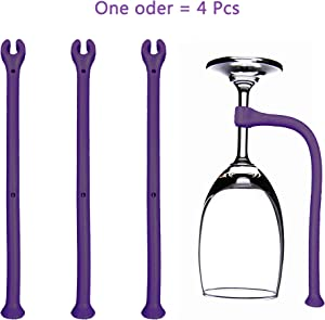 LiXiongBao 4 Pack Purple Silicone Adjust Stemware Goblet Saver Flexible Stemware Holder Dishwasher Wine Glass Protector Tether Silicone Dishwasher Attachment for Wine Glass,Champagne Glasses,Red Wine