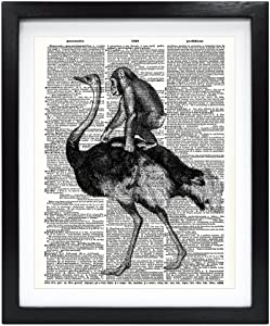 Susie Arts 8X10 Unframed Ostrich with Baby Chimpanzee Upcycled Vintage Dictionary Art Print Vintage Book Art Print Home Decor Kids Wall Art V082